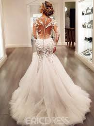 backless wedding dress ericdress charming appliques backless mermaid wedding dress