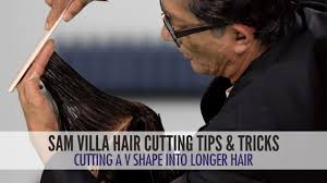 how to cut a v shape into long hair youtube