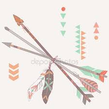 set ethnic arrows with feathers boho style stock vector kate