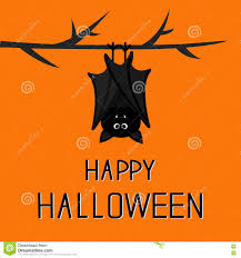 happy halloween card cute bat hanging on tree stock vector