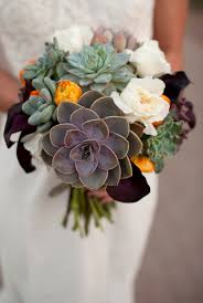 Silk Wedding Bouquet Modern Succulents Wedding Flowers Photos By Laura Segall
