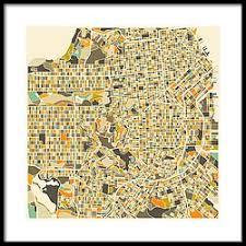 san francisco map framed city map framed prints america