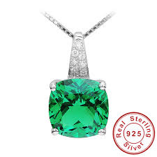 silver emerald necklace images Wholesale nano russian emerald pendant solid 925 sterling solid jpg