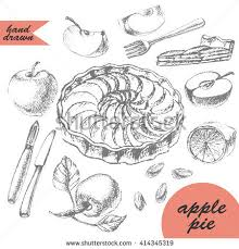 hand drawn apple tart ingredients dessert stock vector 414345319