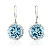 topaz earrings 18ct white gold blue topaz earrings winsor bishop jewellers