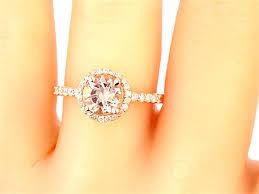14k rose gold diamond round morganite engagement ring wedding ring