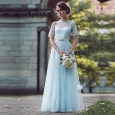 brautkleider shop farbige boho spitze hochzeitskleid graceful licht blau kurzarm