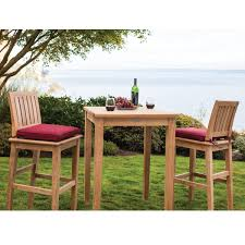Teak Outdoor Table Outdoor Bar Stool With Sunbrella Cushion From The Veranda Collect