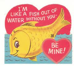 fish valentines vintage card fish out of water flocked die cut ebay