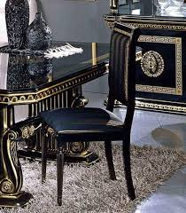 versace dining room table rossella round table 4 chair set black gold versace style