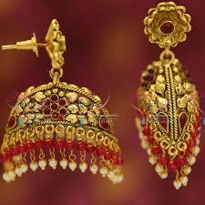 buy jhumka earrings online j2376 antique dual side look two step drops fancy jhumka earrings