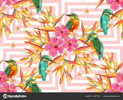 seamless summer tropical pattern with birds butterflies and