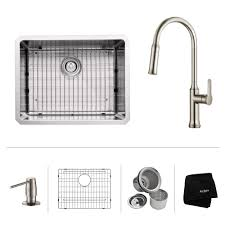 Pull Down Kitchen Faucets Stainless Steel Stainless Steel Kitchen Sink Combination Kraususa Com