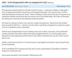 mumsnet user complains over 1 300 engagement ring daily mail online