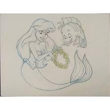 ariel flounder mermaid original movie drawing