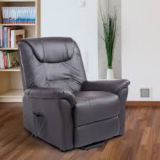homcom leathered electric lift chair power recliner assist remote