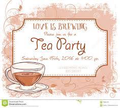 Party Invitation Card Vector Hand Drawn Tea Party Invitation Card Vintage Frame Cup