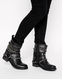buy womens biker boots asos all of a sudden leather biker boots in black lyst
