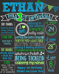 birthday chalkboard chevron blue and green birthday chalkboard boy 1st birthday