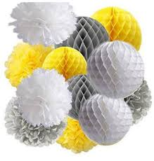 yellow and grey baby shower decorations 12pcs yellow grey white tissue paper pom pom honeycomb balls baby