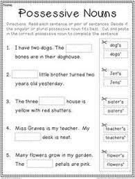 singular and plural possessive nouns with apostrophes worksheets