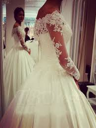 off the shoulder long sleeve lace ball gown wedding dress