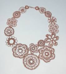 wire lace assymetrical crocheted copper wire lace necklace