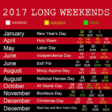 enjoy next year s weekends via 2017 philippine holidays
