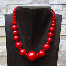 wood beads necklace designs images Red wooden bead necklace 19 quot recultured designs us png