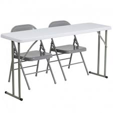 Rectangular Table L Rivera 3pcs 18 W X 60 L Rectangular Table W 2 Metal Folding Chairs
