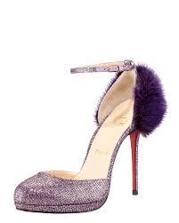 Christian Louboutin Crazy Fur Glitter Pump In Purple Lyst