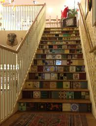 white stuff tiled stairs i may use this patchwork idea for my new