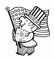 patriotic man with flag fourth of july coloring page for kids