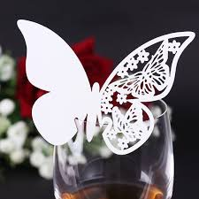 20x glass card holder names brand places butterfly white wedding