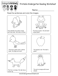 printable kindergarten reading worksheet free english worksheet
