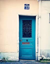 paris door photograph teal blue wall art print montmartre
