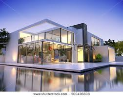 House With Swimming Pool Luxurious Villa Swimming Pool Dusk Stock Illustration 361283462