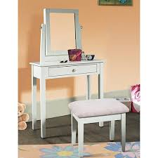 Vanity Bench With Storage Youth Vanity Bench And Mirror Set With Jewelry Storage White