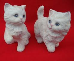 Home Interiors Figurines by Free Vintage Set Of 2 White Blue Eyed Kittens Cats Porcelain