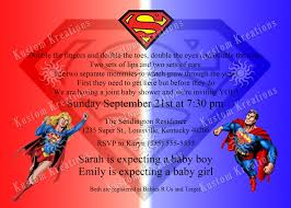 dual baby shower superman invitation kustom kreations