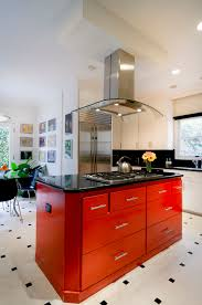 Red And Black Kitchen Tiles - stainless steel tea kettle in kitchen contemporary with red knob