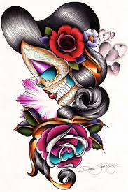collection of 25 sugar skull and flower tattoos