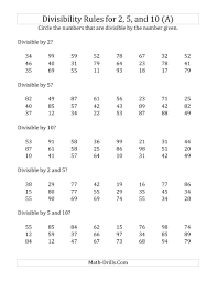 Grade 5 Math Worksheets Divisibility Rules For 2 5 And 10 2 Digit Numbers A Math