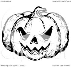 clipart of a sketched black and white evil halloween jackolantern