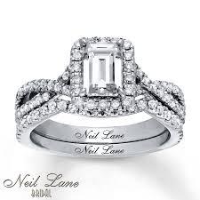 neil emerald cut engagement rings jared neil bridal set 1 3 4 ct tw diamonds 14k white gold