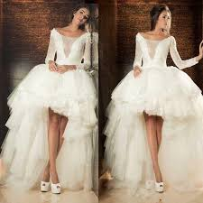 high low wedding dress with sleeves aliexpress buy high low wedding dresses lace applique