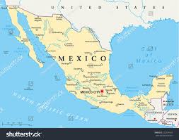 Mexican State Map by Mexico Political Map Capital Mexico City Stock Vector 222434554