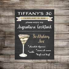 dirty 30 signature drink sign 30th birthday signature
