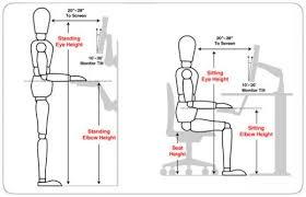 proper height for standing desk proper posture for computer use exercises