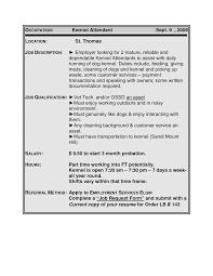 Resume For Juvenile Detention Officer Kennel Attendant Sample Resume